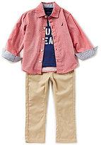 Nautica Little Boys 2T-4T Woven Shirt, Knit Tee & Woven Pant Set