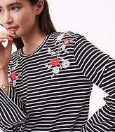 LOFT Floral Embroidered Striped Bell Sleeve Tee