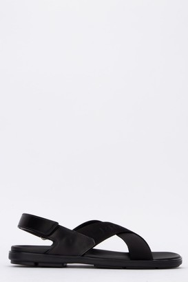 Prada Cross Strap Logo Embossed Sandals