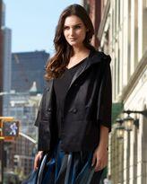 DKNYC Three-Quarter-Sleeve Satin Hooded Jacket