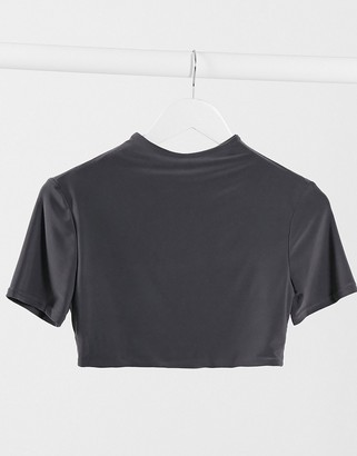 Club L London slinky short sleeve crop top two-piece in charcoal