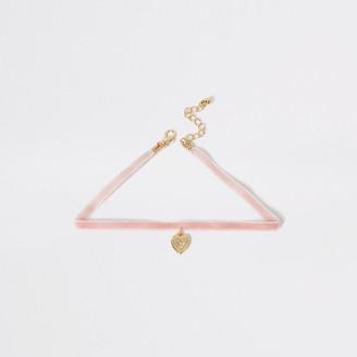 River Island Girls pink heart pendant drop choker necklace