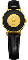 Jowissa Women's J3.018.S Elegance 24 mm Gold PVD Black Leather Watch