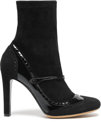 Tabitha Simmons Kessie Patent-paneled Stretch-suede Ankle Boots