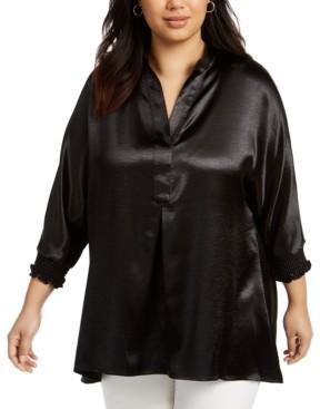 Anne Klein Plus Size Satin 3/4-Sleeve Tunic Top