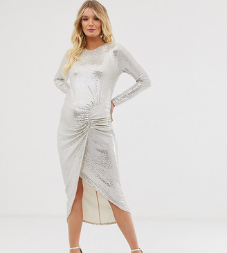 Queen Bee Maternity long sleeve ruched midaxi in white sequin