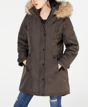 Madden-Girl Juniors' Hooded Faux-Fur-Trim Parka