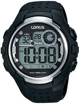 Lorus R2385kx9 Digital Day Date Silicone Strap Watch, Black