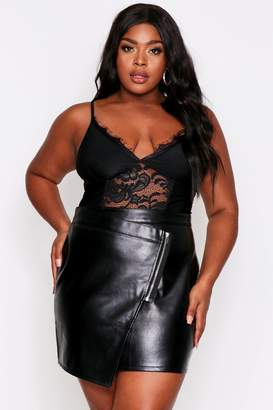 boohoo Asymmetric Faux Leather Zip Front Skirt