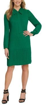 DKNY Long Sleeve Tie Neck Pleated Shift Dress