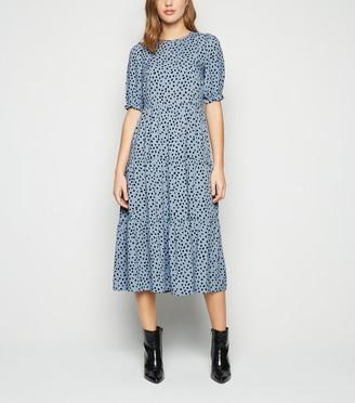 New Look Spot Puff Sleeve Midi Dress