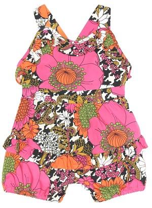 Gucci Kids Baby floral cotton playsuit