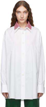 Plan C White and Pink Poplin Collar Shirt
