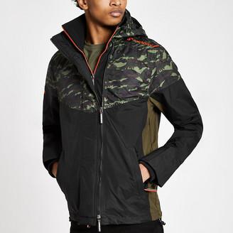 River Island Superdry khaki camo hooded zip-up jacket