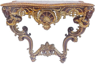 One Kings Lane Vintage Antique Acanthus & Shell Console Table - Vermilion Designs