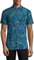 HUGO BOSS Men's Palm-Print Grid Shirt