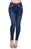 Be Girl Dark Indigo Embroidery-Accent Skinny Jeans