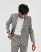 Asos DESIGN double breasted boxy suit jacket in stone with green and blue houndstooth