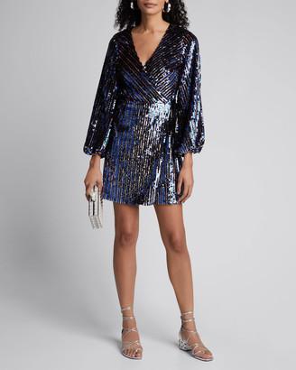 Tanya Taylor Tabitha Sequined Long-Sleeve Wrap Dress