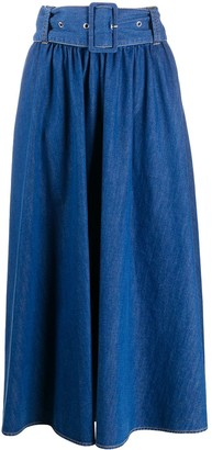 MSGM A-line denim midi skirt