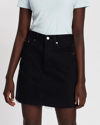 Levi's Women's Black Denim skirts - High-Rise Deconstructed Iconic Boyfriend Skirt - Size 24 at The Iconic