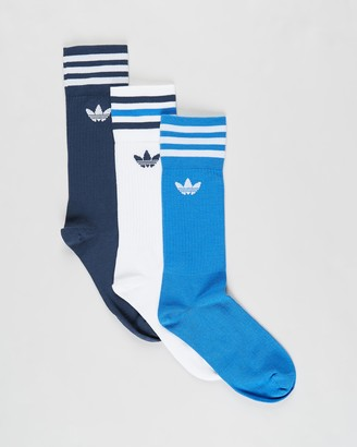 adidas Blue Crew Socks - Solid Crew Socks 3-Pack - Size 6-8.5 at The Iconic