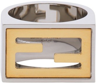 Fendi Silver and Gold Forever Signet Ring