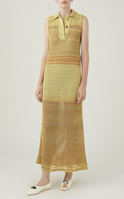 Marina Moscone Silk Crochet Polo Dress