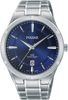 Pulsar Mens Silver Tone Bracelet Watch-Ps9521