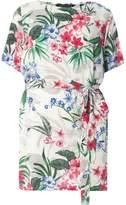Dorothy Perkins DP Curve White Tropical Print Tie Waist Tunic