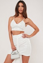 Missguided Petite White Co Ord Sequin Bralette