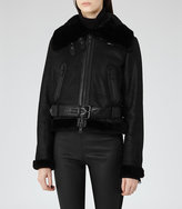 Reiss Nell Shearling Biker Jacket