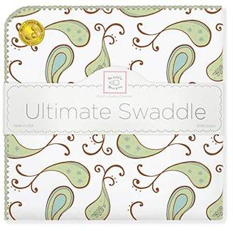 Swaddle Designs Ultimate Winter Swaddle, X-Large Receiving Blanket, Made in USA, Premium Cotton Flannel, Kiwi Paisley (Mom's Choice Award Winner)