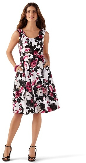 White House Black Market Sleeveless Fit & Flare Floral Dress