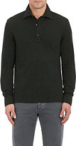 Isaia Men's Cotton Long-Sleeve Polo Shirt-DARK GREEN