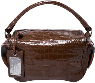 Dolce & Gabbana Brown Croc Embossed Leather Miss Double Top Handle Bag