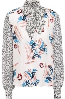 Joie Kanela Tie-neck Georgette-paneled Floral-print Silk Crepe De Chine Blouse