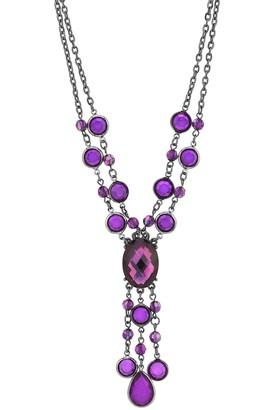 1928 Black-Tone Purple Strand Y-Necklace