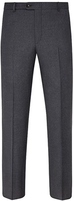 Hickey Freeman Mouline Light Melange Grey Flat Front Wool Suit Separates Trousers