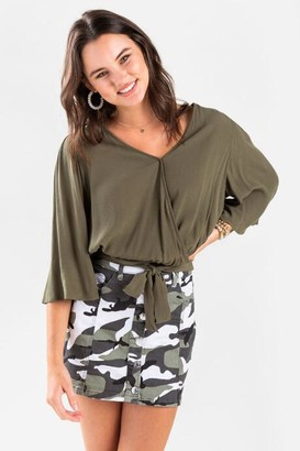 francesca's Louise Bell Sleeve Blouse - Olive