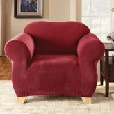 Sure Fit Stretch Pixel Corduroy 1-Piece Chair Slipcover in Burgundy