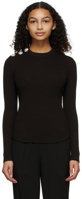 Ganni Brown Rib Knit Sweater