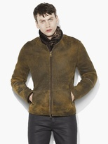 John Varvatos Zip Front Shearling Jacket