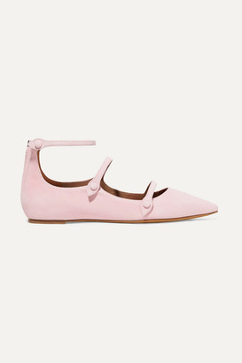 Tabitha Simmons + Equipment Lynette Suede Point-toe Flats - Baby pink