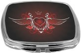 Rikki Knight Compact Mirror, Love Heart Wings