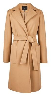 Dorothy Perkins Womens Camel Patch Pocket Wrap Coat