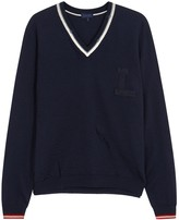 Lanvin Navy Distressed Wool Jumper