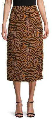 Pure Navy Zebra-Print Slip Skirt