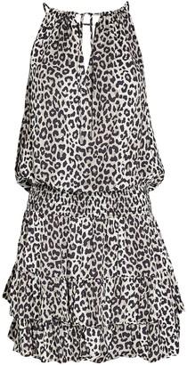 Notes Du Nord Papaya Leopard Mini Dress