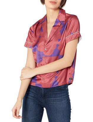 Obey Women's Collared Short Sleeve Button-Down Shirt